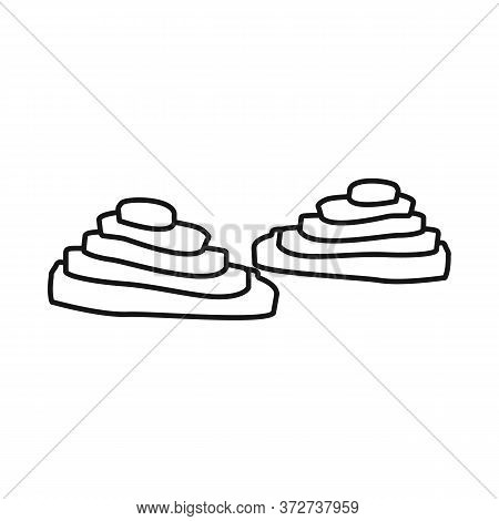 Isolated Object Of Rice And Field Sign. Set Of Rice And Terrace Vector Icon For Stock.