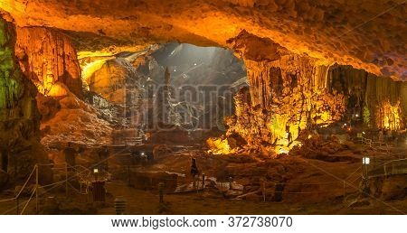 Along City, Quảng Ninh/vietnam - October 11th 2014: The Illuminated Limestone Sung Sot Caves In The