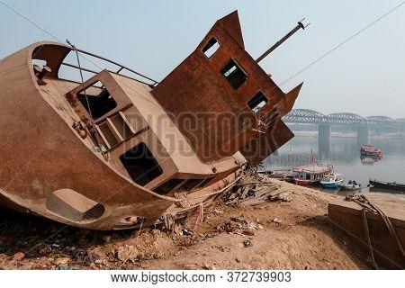 Abandoned Ship At Ganges Embankment, Varanasi, Uttar Pradesh, India