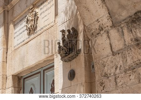 Jerusalem, Israel, June 13, 2020 : First Stations Of The Way Of The Cross On Via Dolorosa Street In
