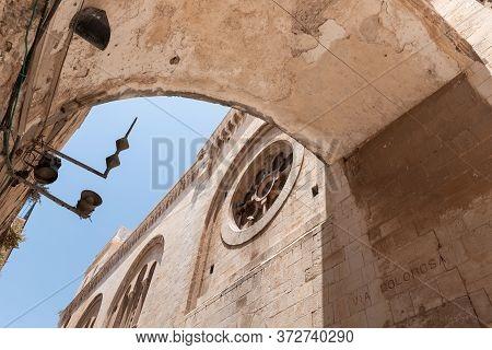Jerusalem, Israel, June 13, 2020 : Old Buildings On Via Dolorosa Street In The Arab Quarter In The O