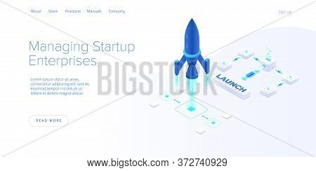 Startup Coaching And Mentorship Concept In Isometric Vector Illustration. Business Start Up Team Lau