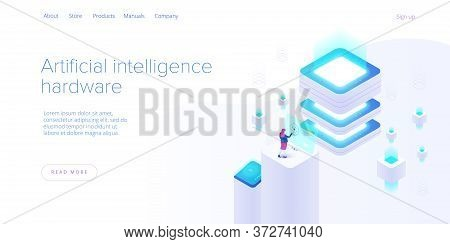 Hosting Server Isometric Vector Illustration. Abstract 3D Datacenter Or Data Center Room Background.