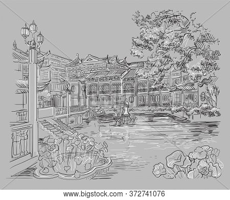 Yuyuan Garden (garden Of Happiness), Old City Of Shanghai, Landmark Of China. Hand Drawn Monochrome