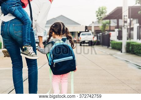 Happy Asian Family Children Boy Piggyback Mother And Walking Sidewalk Hold Hand Kid Girl Outdoors, T