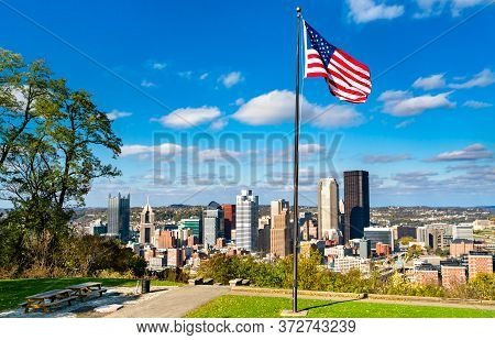 American Flag At Emerald View Park On Mount Washington Overlooking Downtown Pittsburgh, Pennsylvania