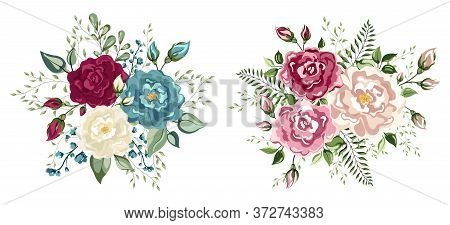 Set Of Floral Branch. Set Of Floral Branch. Wedding Concept - Flowers. Floral Pastel Watercolor Styl