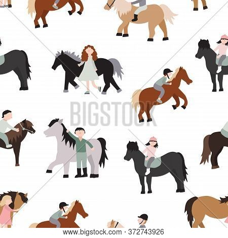 Cartoon Characters Kids Riding Ponies Seamless Pattern Background On A White Recreation Activity Or