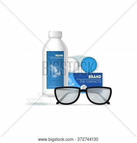 Realistic 3d Detailed Optometry Accessory Set On A White Include Of Eyeglasses, Lens, Optic Product