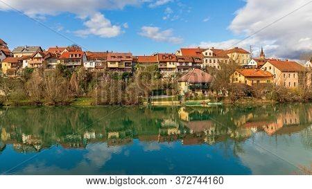Old Quarter At River Krka In Novo Mesto Slovenia