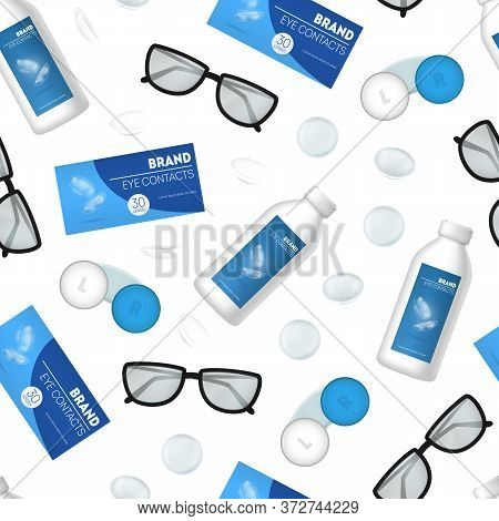 Realistic 3d Detailed Optometry Accessory Seamless Pattern Background On A White Include Of Eyeglass