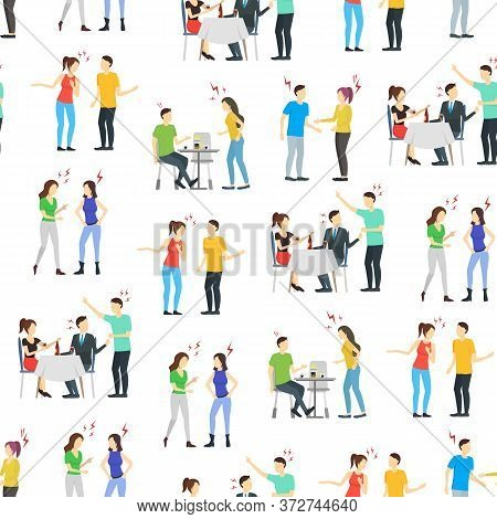Cartoon Characters People Different Conflict Seamless Pattern Background On A White Anger, Quarrel,