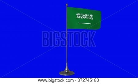 Saudi Arabia Small Flag Fluttering On A Flagpole. Blue Screen Background. 3d Rendering