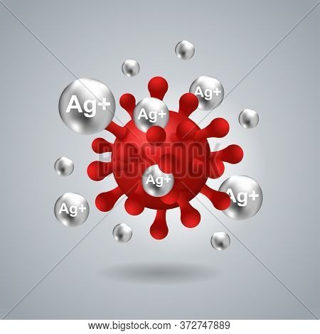 Silver Ions Ag Action 3d Picture - Antibacterial Effect Of Ion Solution - Science, Chemistry And Tec