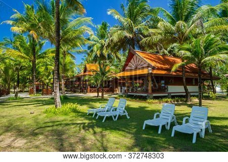 Koh Kho Khao, Thailand - November 14, 2012: Tropical scenery of the Andaman Princess Resort & SPA at sunset. This beautiful hotel was destroyed by tsunami in 2004 and rebuild, Thailand.