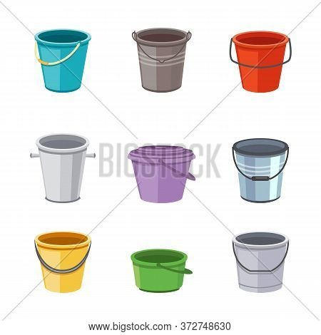 Metal And Plastic Buckets And Pails Set Cartoon Vector Illustrations Isolated.
