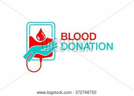 Blood Donation Emblem - Donate  Conceptual Logo For World Blood Donor Day Of Transfusion Station