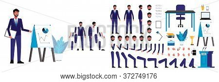 Set Of Figures And Body, Head And Arms, Legs And Faces Of A Male Ceo Businessman For Animation.