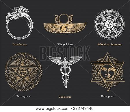 Drawn Sketches Of Magical And Mystical Symbols. Set Of Vector Illustrations In Engraving Style. Vint