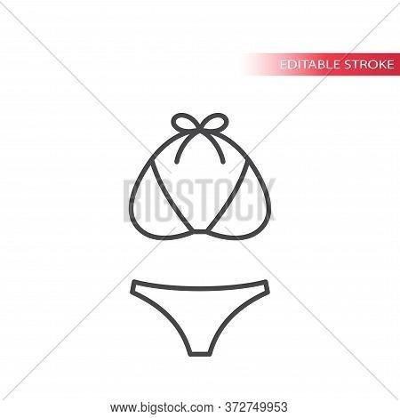 Swimsuit Top And Bikini Thin Line Vector Icon. Women Bathing Suit Outline Set, Editable Stroke.