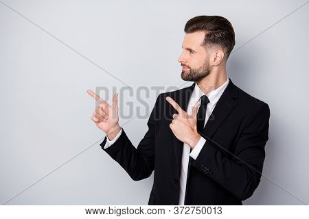 Profile Side Photo Of Successful Smart Company Worker Man Point Index Finger Copyspace Present Adver