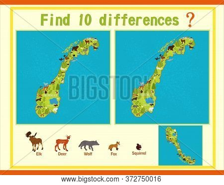 Map Of Norway With Animals. Vector Game. Find The Difference.