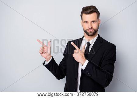 Portrait Of Smart Cool Worker Man Point Index Finger Copy Space Indicate Ads Promo Wear Formalwear C