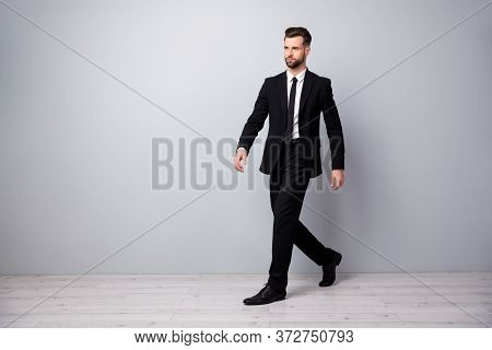 Full Size Profile Side Photo Of Stylish Handsome Economist Worker Man Go Walk To Workplace Meeting W