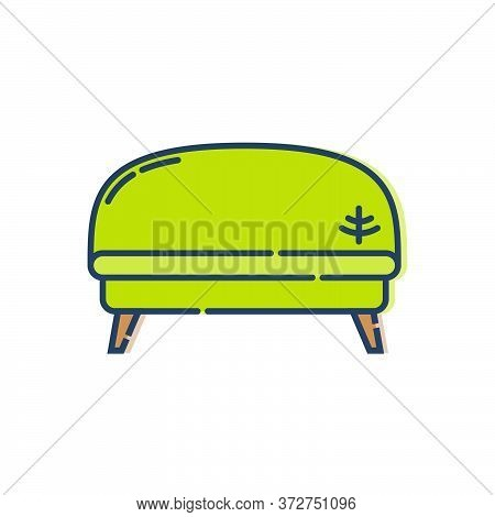 Comfortable Sofa With One Pillow. Image Of Couch In Line Art Style. Element Furniture Of The Interio