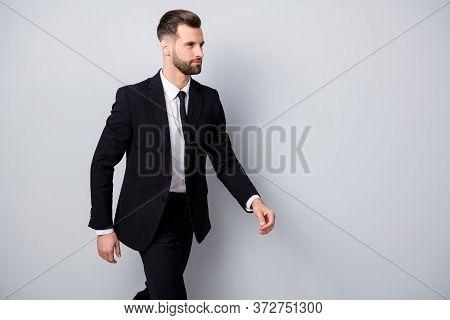 Profile Side Photo Of Masculine Charismatic Worker Go Walk On Business Partners Meeting Wear Formalw