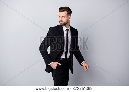 Profile Side Photo Of Attractive Man Worker Put His Hand Pocket Go Look Copyspace Wear Classy Formal