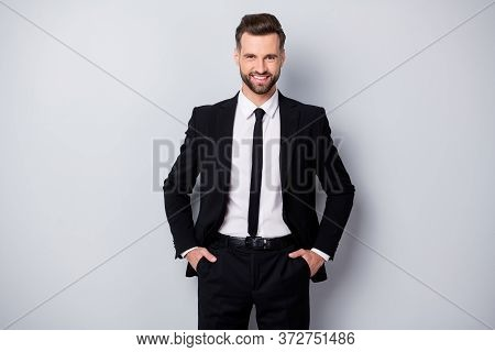 Portrait Of Positive Clever Start-up Expert Man Feel Content Emotion Ready Decide Decisions Put Hand