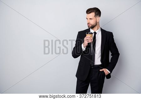 Portrait Of Handsome Worker Man Decide Relax After Long Work Conference Hold Drink Mug Cafe Take-awa