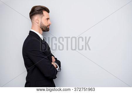 Profile Side Photo Of Serious Masculine Entrepreneur Man Cross Hands Listen His Collar Report Wear F