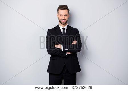 Portrait Of Confident Cool Man Worker Feel Like He Big Company Owner Cross Hands Wear Formalwear Out