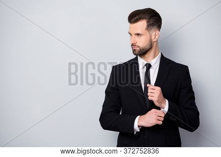 Profile Side Photo Of Charismatic Serious Worker Man Adjust Cufflinks Look Copyspace Prepare For Bus