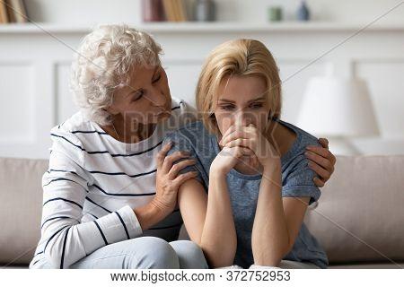 Old Mother Soothes Grownup Daughter Helps Her Survive Divorce