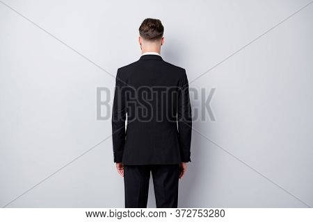Back Rear Spine Photo Of Strict Serious Entrepreneur Man Stand Behind View Wearing Formalwear Clothi