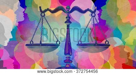 Social Justice Together As A Crowd Of Diverse People With A Law Symbol Representing Community Legisl