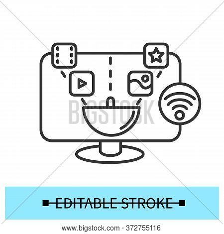 Smart Tv Icon. Outline Sign For Digital Television Technology. Thin Line Lcd Tv Set For Wifi Connect