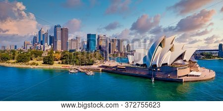 June 20, 2020. Sydney, Australia. Beautiful Aerial View Of The Sydney City From Above With Harbour B