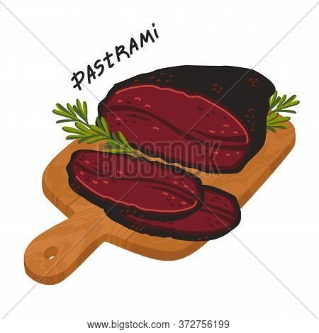 Pastrami. Meat Delicatessen On A Wooden Cutting Board.