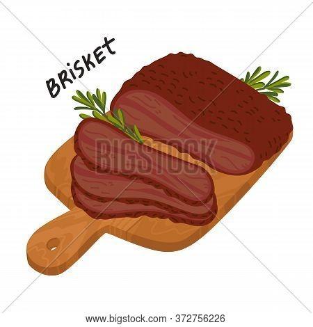 Brisket. Meat Delicatessen On A Wooden Cutting Board.