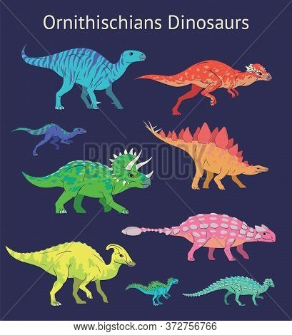 Set Of Ornithischian Dinosaurs. Colorful Vector Illustration Of Dinosaurs Isolated On Blue Backgroun