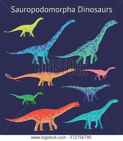 Set Of Sauropodomorpha Dinosaurs. Colorful Vector Illustration Of Dinosaurs Isolated On Blue Backgro