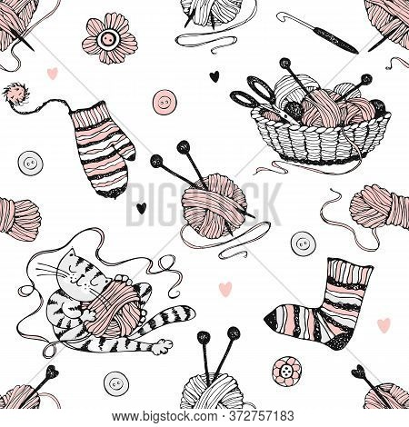 Seamless Pattern On The Theme Of Knitting With A Basket And Balls Of Yarn And A Cute Cat. Vector