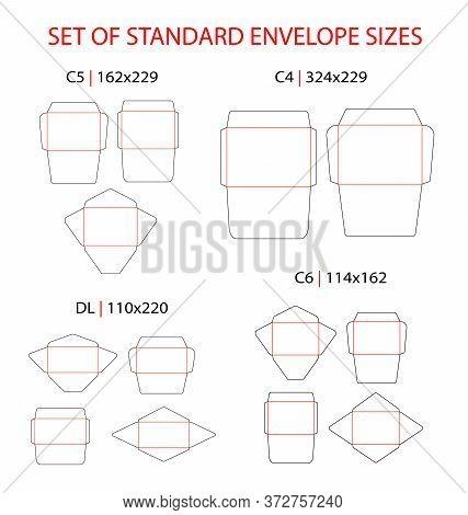 Envelope Set Standard Types Vector Die Cut Template: Dl, C6, C5, C4. Different Shapes: Commercial Fl