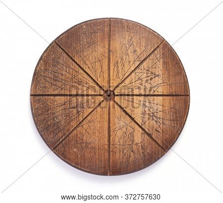 wooden pizza cutting board isolated on white background