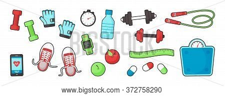 Fitness Equipments Sport Accessories Gym Things Stufff For Training Isolated On White Background. To