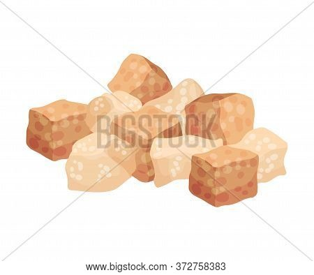 Pile Of Brown Sugar Cubes As Sweetener For Tea And Coffee Vector Illustration